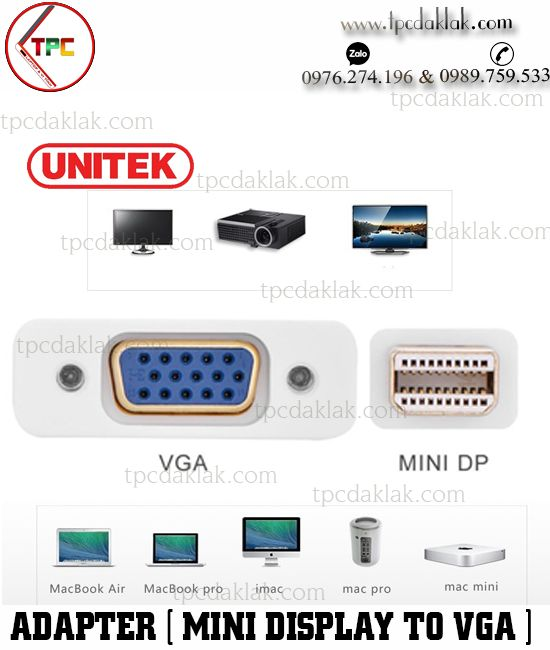 Cáp chuyển đổi cổng Mini Display - VGA ( Unitek ) | Adapter Converter Mini Display Port to VGA