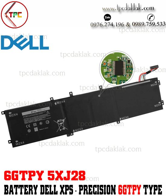 Pin Laptop Dell XPS 15 9560, 9550, 9570 - Dell Precision 5510, 5520, M5520 | 6GTPY, 5XJ28 - 11.4V 97Wh