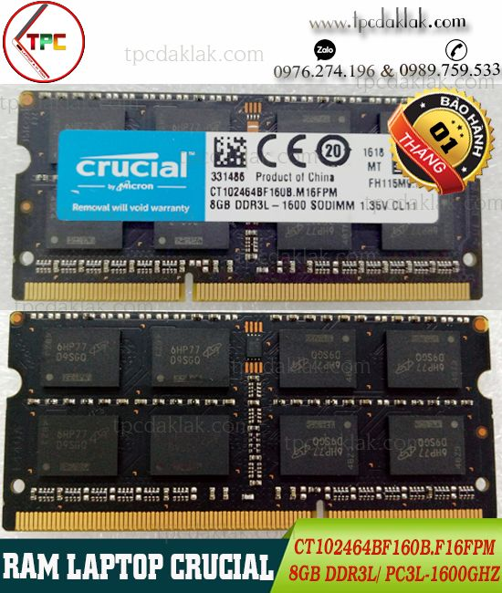RAM LAPTOP CRUCIAL 8GB PC3L 1600T |RAM 8GB PC3L 1600GHZ CT102464BF160B SODIMM 204