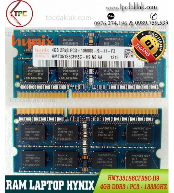 RAM Laptop Hynix 4GB 2Rx8 PC3-10600S |RAM LAPTOP 4GB PC3-1333Ghz HMT351S6CFR8C-H9