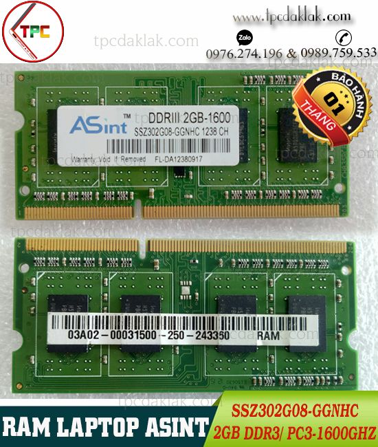 RAM LAPTOP ASINT 2GB 1Rx8 PC3 1600Ghz| RAM LAPTOP ASINT 2GB DDR III 12800S SSZ302G08-GGNHC