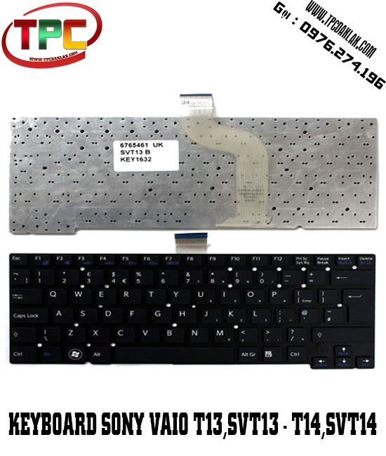 Bàn phím Laptop Sony Vaio SVT13 - SVT13112FXS - SVT13112FX | KEYBOARD SONY VAIO SVT13 DAK LAK