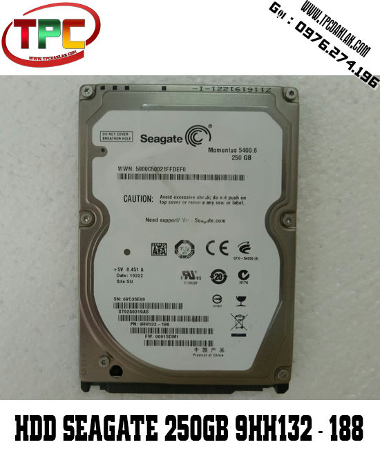 HDD SEAGATE 250GB  ST9250315AS 5400RPM / Sata 3 / 2.5INCH | HDD Segate 250GB 5400RPM