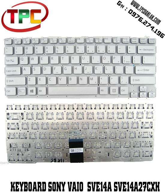 Bàn phím Laptop Sony Vaio SVE14A - SVE14xxxx Series | Keyboard For Sony Vaio SVE14A Sliver
