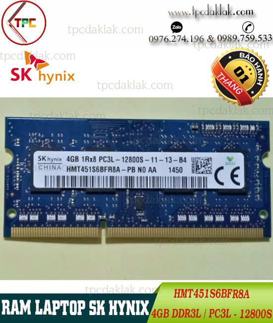 Ram Laptop SKHynix 4GB 1Rx8 PC3L-12800S 204 PIN | Ram Laptop SKHynix 4GB DDR3L - HMT451S6BFR8A