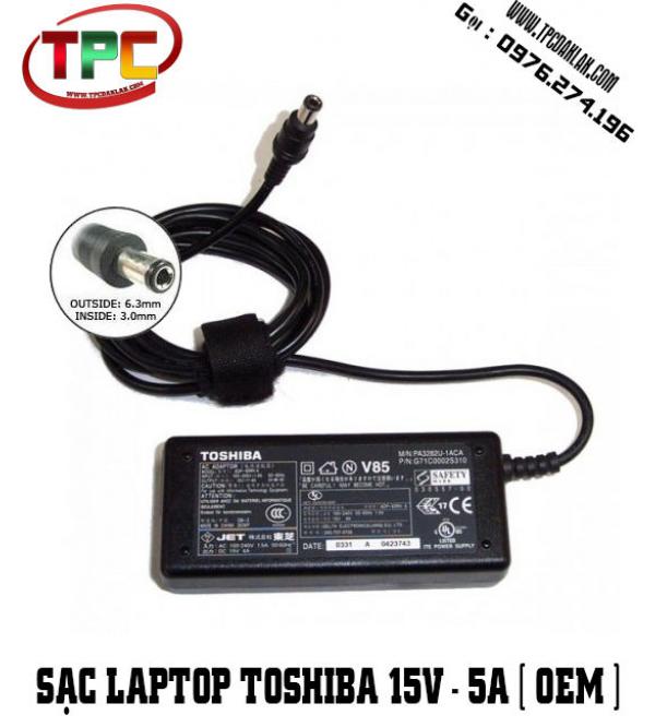 SẠC LAPTOP TOSHIBA 15V -5A Jack 6.3mm X 3.0mm | Adapter  LAPTOP TOSHIBA 15V -5A tại Dak Lak