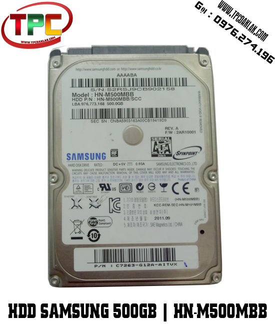 HDD SAMSUNG 500GB 2.5INCH HN-M500MBB | Ổ cứng máy tính 500GB SAMSUNG