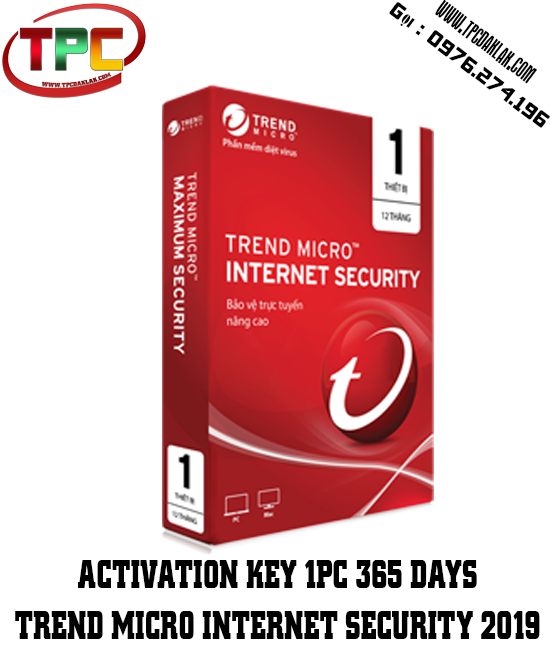 Bản quyền Phần Mềm Trend Micro Internet Security 2020 | Activation Key 1PC 365 Days