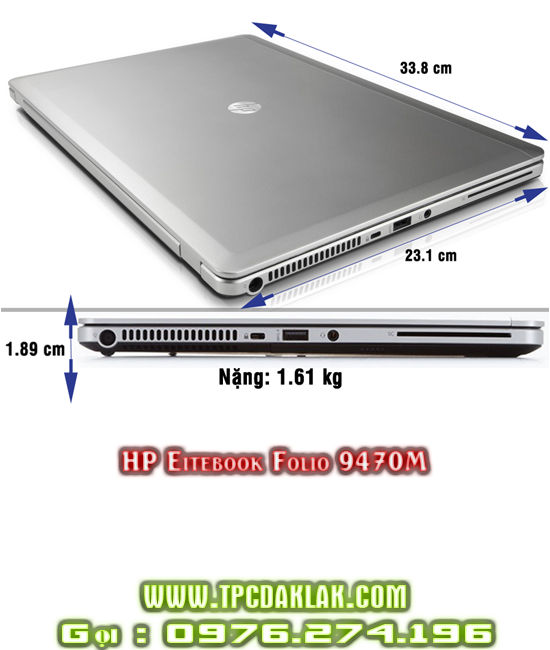 Laptop HP Elitebook Folio 9470M | CORE I5 3427U | RAM 4GB  | SSD120 GB | Laptop Hp Đak Lak