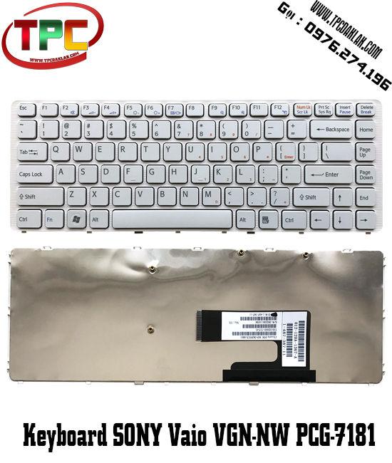 Bàn phím Laptop  Sony Vaio VGN-NW /  PCG-7181M PCG-7186M ( Trắng / Đen )|Thay bàn phím Laptop tại Đak Lak